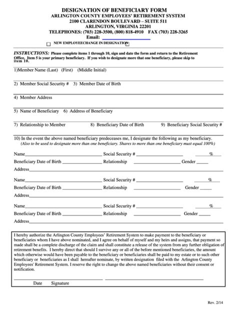 Designation Of Beneficiary Form Printable Pdf Download Beneficiary Designation Template