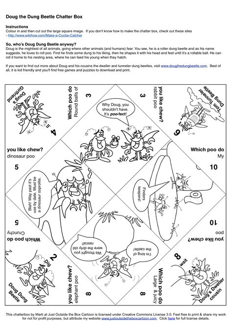 how to make a chatterbox template cootie catcher archives just outside the box