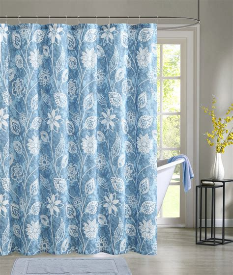 Blue Shower Curtains Blue Embossed Fabric Shower Curtain White Floral Design Ebay
