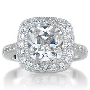 Cushion Cut Ring S Vintage Style Halo Cushion Cut Cz Engagement Ring