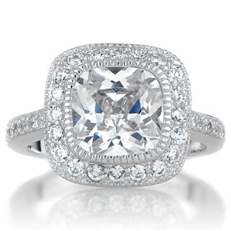 Cushion Cut Engagement Rings by Vintage Cushion Cut Halo Engagement Ring Wallpaper
