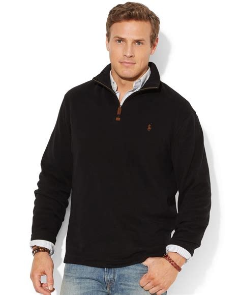Hoodie Jumper Polos Black Jmp3 polo ralph big and sleeve solid rib half zip sweater in black for lyst