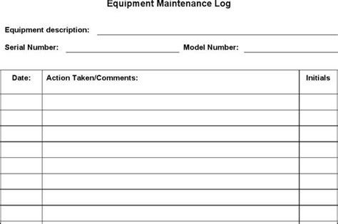 Log Template Download Free Premium Templates Forms Sles For Jpeg Png Pdf Word And Equipment Maintenance Log Template Free