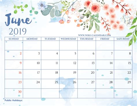 blank june  calendar printable   heart