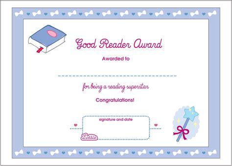 lottie doll awards reader printable award certificate lottie dolls