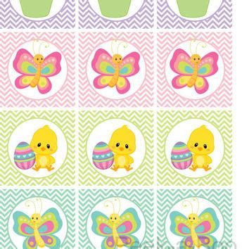 printable easter stickers printable easter cupcake toppers from isidesigns on etsy