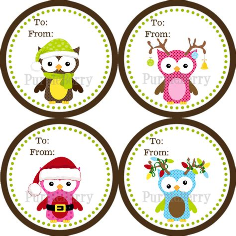 owl christmas gift tag stickers brown and green polka dot