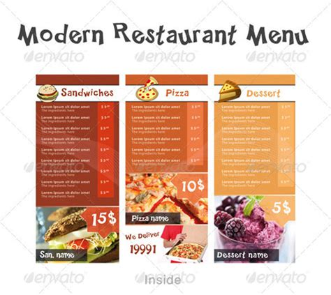 modern menu template 25 high quality restaurant menu design templates premium