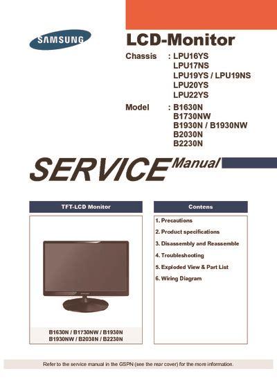 Monitor Samsung B1630 samsung b1630 b1730nw b1930 service manual repair