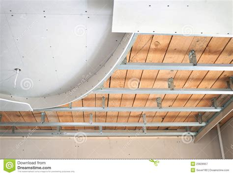 How To Put Plasterboard On Ceiling by Suspended Ceiling Consisting Of Plasterboard Stock Image