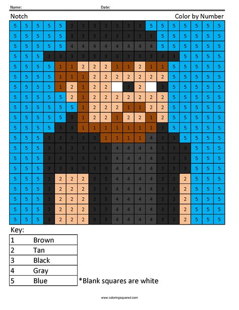 minecraft coloring page by numbers notch color by number coloring squared