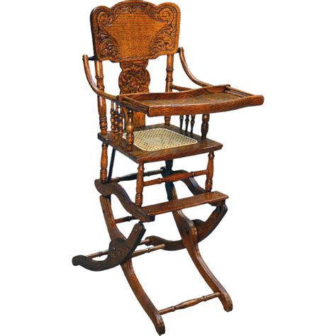 antique high chairs antique oak press back rocker collapsible high