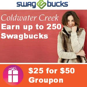 Coldwater Creek Gift Card Online - 25 for 50 coldwater creek groupon earn up to 250 swagbucks