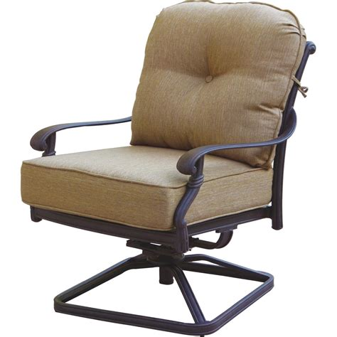Patio Chairs by Darlee Santa Cast Aluminum Patio Swivel Rocker Club