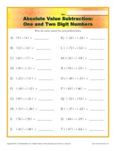 printable math worksheets absolute value absolute value subtraction worksheet one and two digit