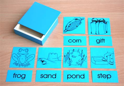 blue picture cards word cards with wooden boxes