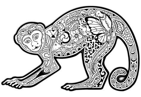 monkey coloring pages for adults free coloring page coloring drawing monkey a funny monkey