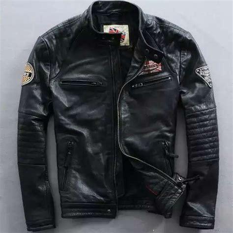 Jaket Lea Original new s leather jacket slim fit biker motorcycle