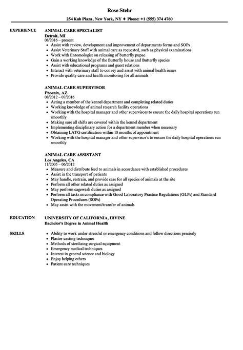Animal Caretaker Resume