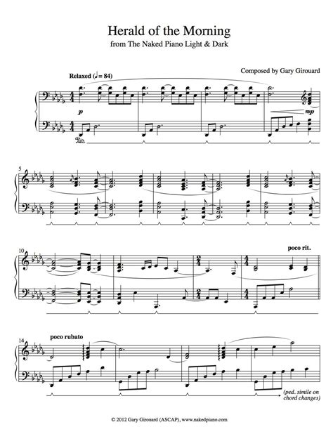 herald of the morning solo piano sheet music from the