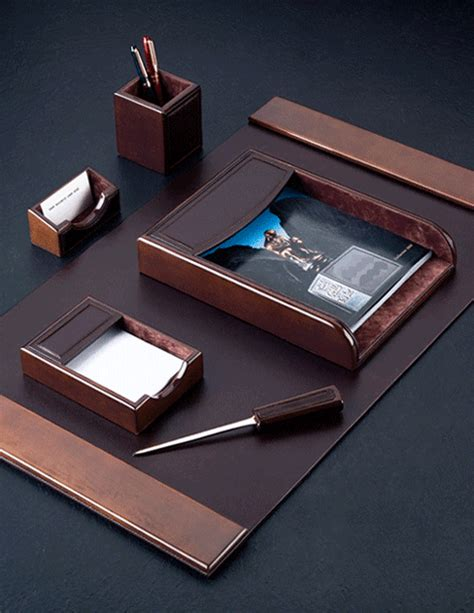 Brown Leather Desk Accessories Wood Brown Leather Desk Pad And Accessories