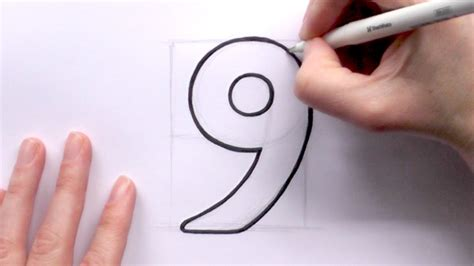 make a drawing how to draw a cartoon number 9 youtube