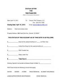 Homeowners Association Letter Templates generic hoa status letter