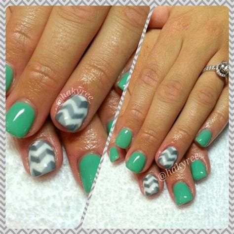 chevron pattern gel nails seafoam green custom mixed hand painted two tone grey