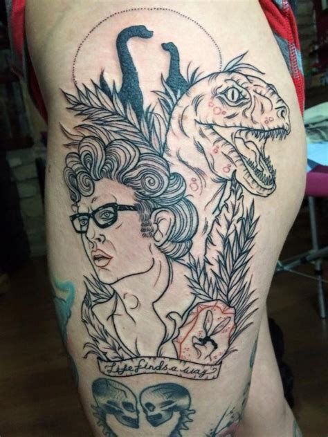 jurassic park tattoo jurassic park thigh session by blue