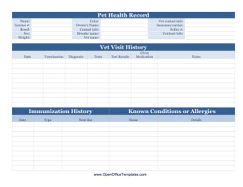 pet health record openoffice template