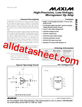 integrated circuit and data sheet max480 datasheet pdf maxim integrated products