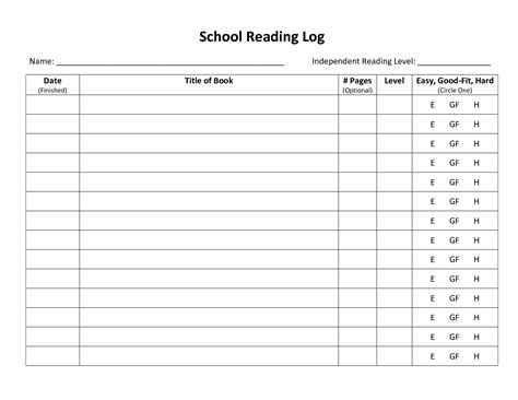middle school reading log template search results for weekly reading log template
