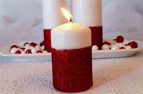 how to make christmas decorations at home easy glitter candles easy diy christmas decorations two sisters