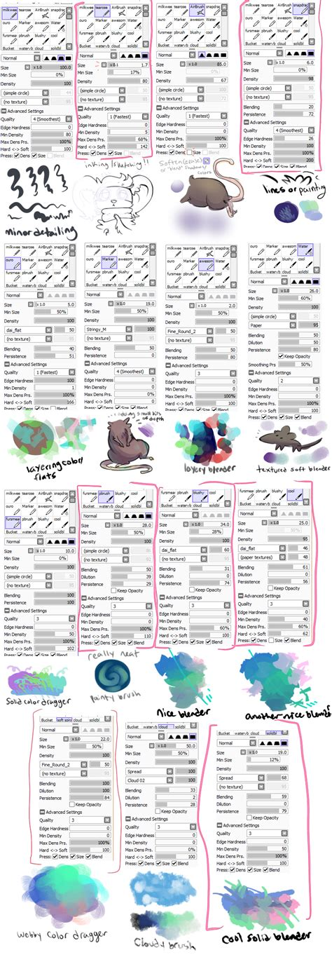 paint tool sai 2 settings paint tool sai brush settings by vullo on deviantart