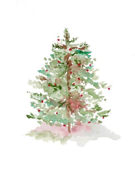 tree print from original watercolor christmas holiday art