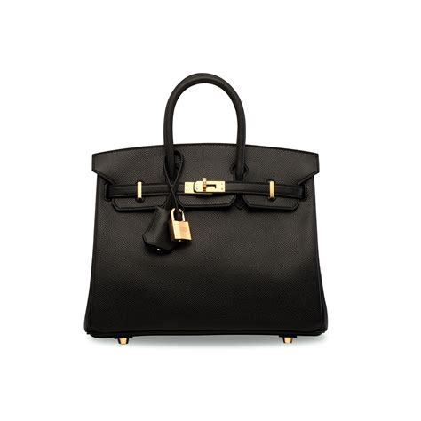 Black Birkin a black epsom leather birkin 25 with gold hardware