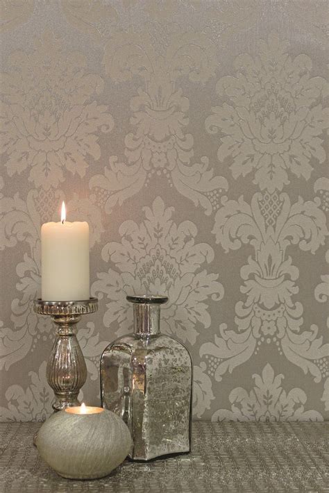 wallpaper design ideas stunning silver damask wallpaper design by arthouse