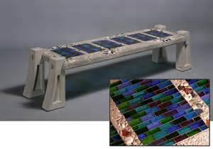 Garden Sculpture Art - 6 tile bench blue purple green mosaic bricks paradox art