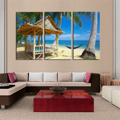 3 pcs home decor canvas frameless coconut trees