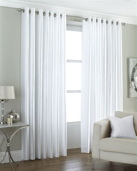 white silk curtains lined faux silk white fully lined ring top eyelet curtains