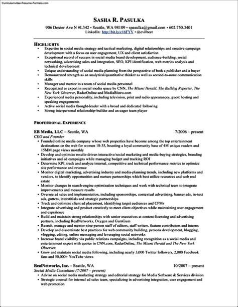 social media resume template free sles exles