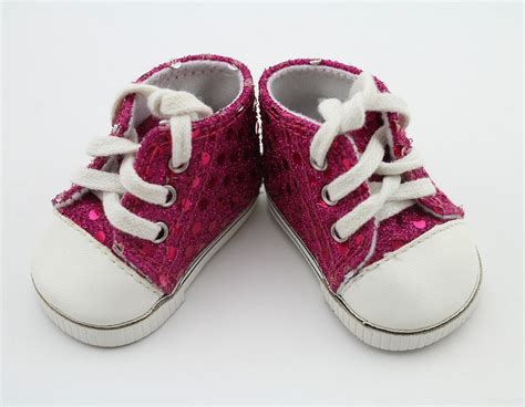 pink sequin sneakers shoes doll accessories sport shoes