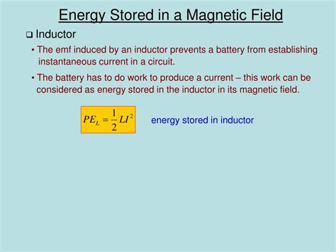 energy stored in inductor wiki ppt chapter 20 induced voltages and inductances powerpoint presentation id 298036