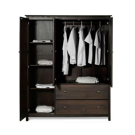 Wardrobe Closet - espresso wood finish bedroom wardrobe armoire cabinet