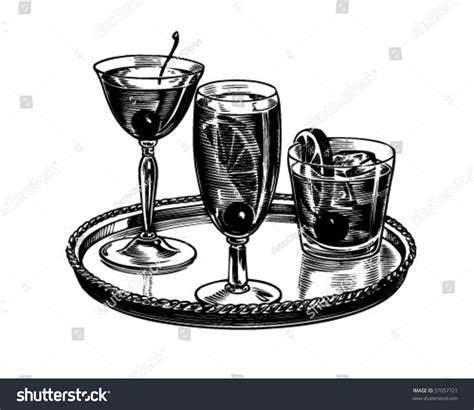 retro cocktail clipart tray of cocktails retro clip stock vector