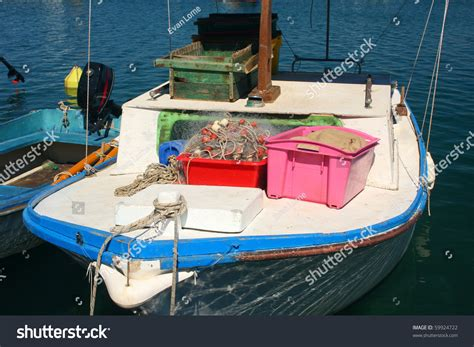 fishing and boat equipment fishing boat with equipment stock photo 59924722