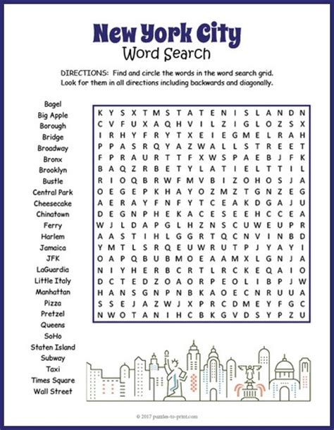 Nys Search New York City Word Search