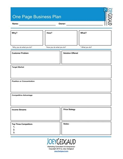 2 page business plan template one page business plan joey gedgaud