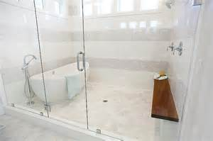tub in front of walk in shower design ideas