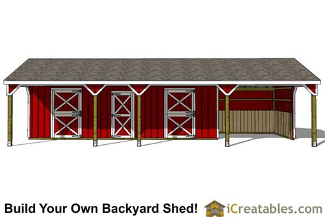 stall horse barn plans  lean   center tack room